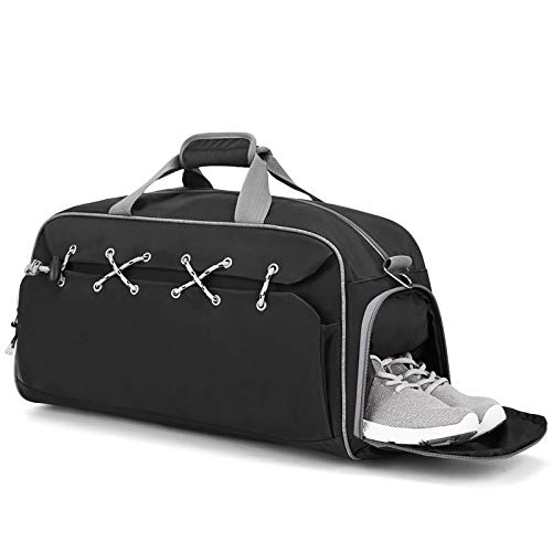 Dry Wet Depart Duffle Bag Sports Gym Bag with Shoes Compartment,Fomatrade Waterproof Gym Sports Bag for Men and Women (Black)