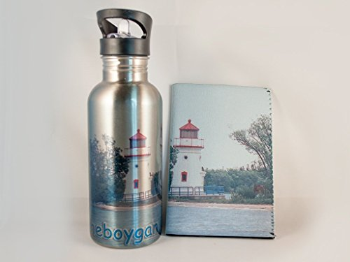 Cheboygan Crib Michigan Lighthouse Stainless Steel Water Bottle and Insulator (Bottle Lighthouse)