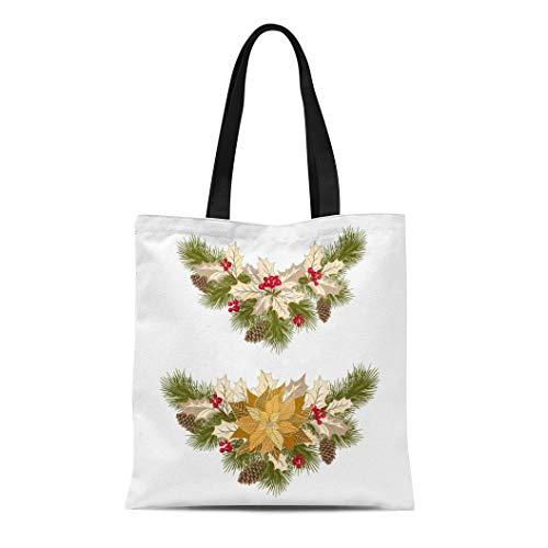 Semtomn Canvas Tote Bag Shoulder Bags Berry Christmas Golden Poinsettia Fir Tree Pine Cones Holly Women's Handle Shoulder Tote Shopper Handbag ()