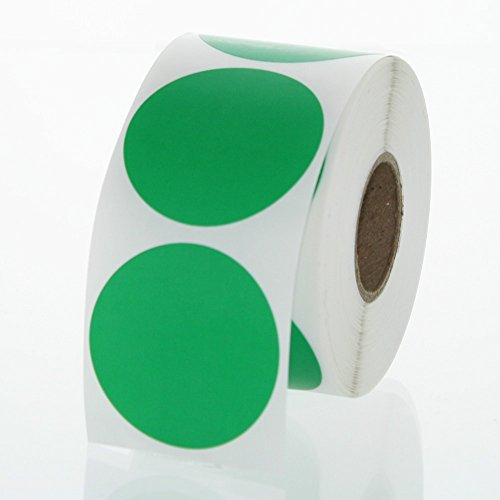 Green Round Color Coding Inventory Labeling Dot Labels / Stickers 1.5 Inch Round Labels - 500 Stickers Per Roll