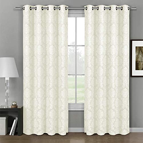 Deluxe Energy Efficient & Room Darkening. Pair Two Top Floral Grommet Jacquard Curtain Panel, Elegant Contemporary Aryanna, Off White, 120