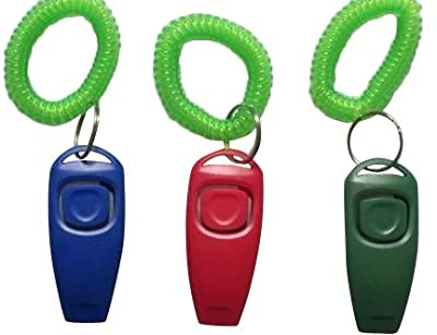 BAFX Products (TM) Pack of THREE / 2 in 1 - Dog training clicker & whistle - W/ Key ring & Wrist strap by BAFX Products