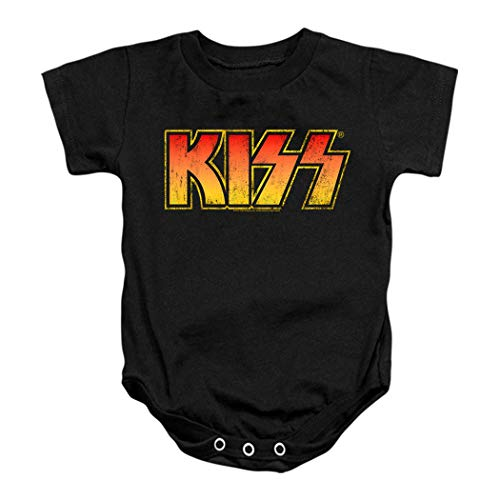 KISS Rock Music Distressed Vintage Logo Baby Onesie Bodysuit (18 Months) Black