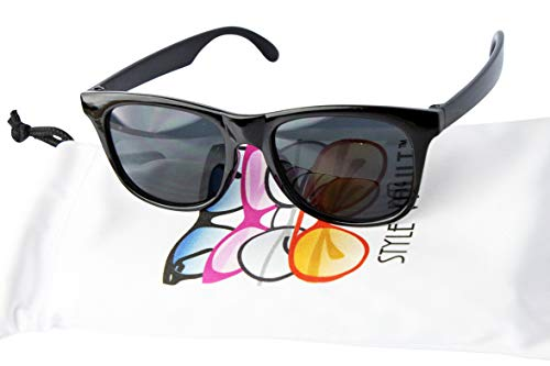 Kd3006 infant baby Toddlers 0~24 Months Old 80s retro Sunglasses (Black)]()