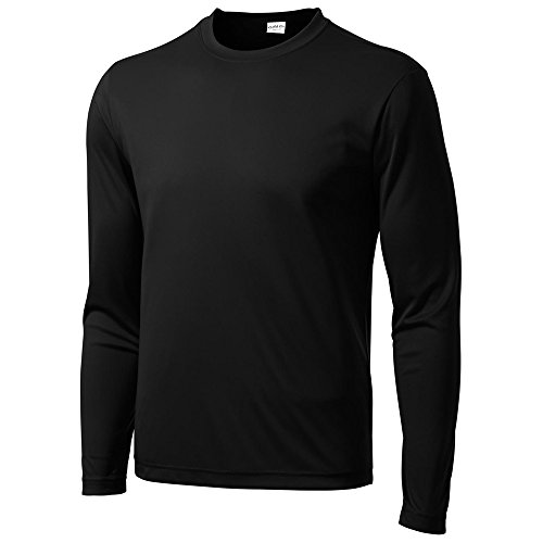 Sleeve Moisture Wicking Athletic Sport Training T-Shirt, L, Black ()