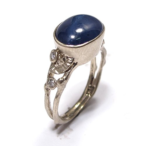 Blue-Star-Sapphire-Diamond-Leafy-Organic-Engagement-Ring