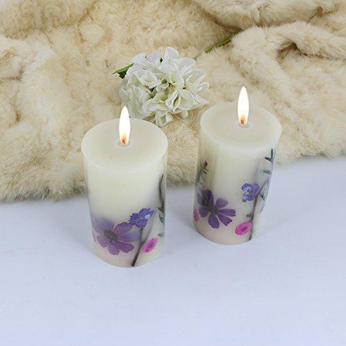 LOHOTEK Scented Candles White Tea Candle Soy Wax, Botanical Pillar Candles by LOHOTEK (Image #8)