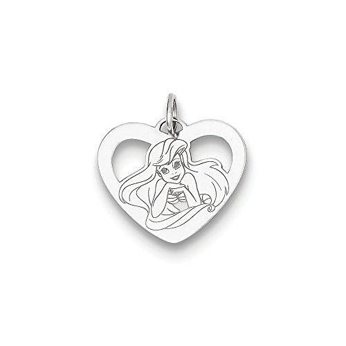 (Roy Rose Jewelry Sterling Silver Disney Ariel Heart Charm Necklace Complete with Chain)