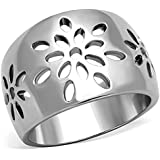 Marimor Jewelry Stainless Steel 316 High Polished Flower Design Fashion Ring Women's Size 5