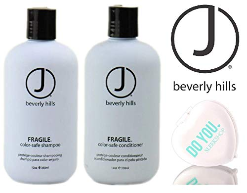 J Beverly Hills FRAGILE Color-Safe SHAMPOO & CONDITIONER Duo Set (with Sleek Compact Mirror) (12 oz / 350 ml DUO KIT)