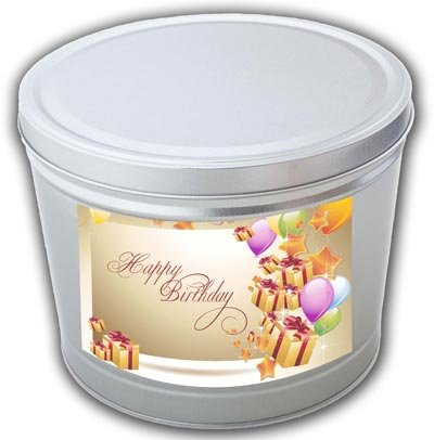 Happy Birthday Popcorn Gift Tin - 3.5 Gallons, Traditional 3-Way Combo - Celebration Gift Tin
