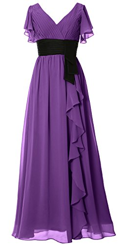 Long Bridesmaid Short Women Neck Mother Party Gown Formal V Sleeve Dress Regency MACloth XRUqBfwxX