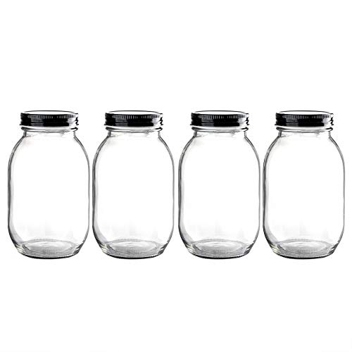 29 Ounce Glass Mason Jar with Airtight Metal Lid for Storage and Canning,Set of 4