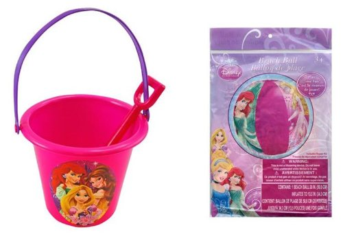 Bucket Set Princess (Disney Princess Sand Bucket and Shovel + Beach Ball Set)