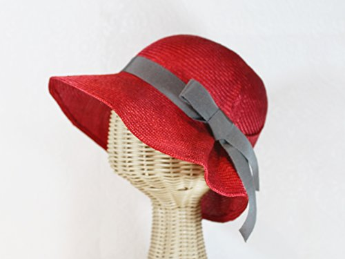 Straw 20s Style Cloche Sun Hat in Cherry Red by Bonnet