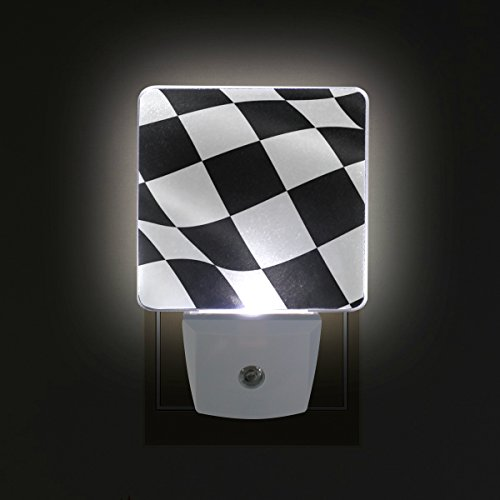 LORVIES Checkered Flag Plug in LED Night Light