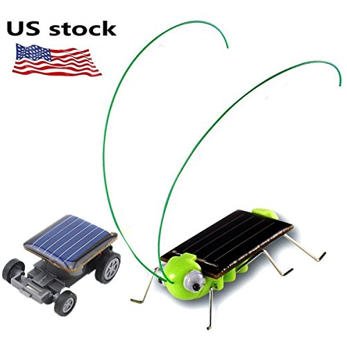 Solar Bug - 1 pack Solar Powered Grasshopper Children Learning Toy + 1 pack World's Smallest Solar Powered Car - Educational Solar Powered Toy