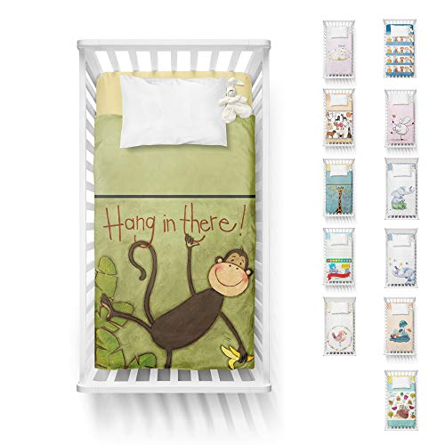 Adam Home Digital Print New Born Kids Cot Bed Duvet Cover Toddlers for Boys and Girls - Monkey Capers ()
