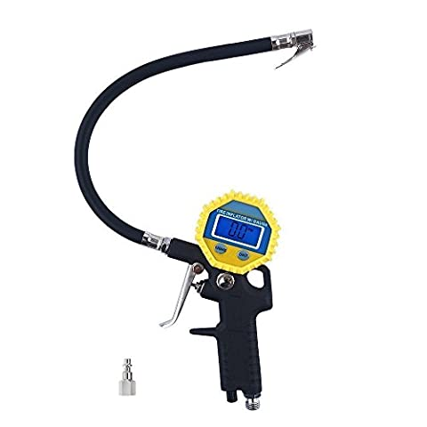 KULAIPU Electric Digital Tire Inflator Gauge with Flexible Rubber Hose, 3-in-1 Inflation Gun, Lock-On Air Chuck and Pressure Gauge, Range from 0-150 (1 8 Air Compressor Fitting)