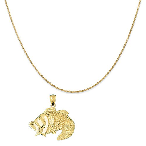 14k Yellow Gold Bass Pendant on a 14K Yellow Gold Carded Rope Chain Necklace, 18'' by Eaton Creek Collection