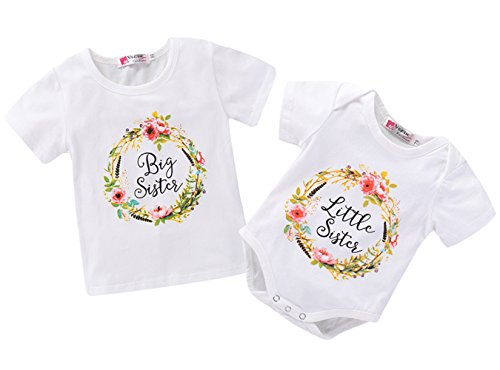Little Sister Baby T-shirt - LOliSWan Little Big Sister Toddler Baby Girl Matching Clothes Romper T-Shirt (Little Sister, 0-3 Months)