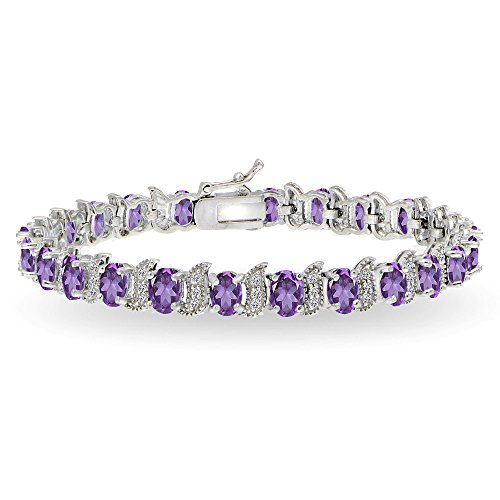 GemStar USA Sterling Silver African Amethyst 6x4mm Oval and S Tennis Bracelet with White Topaz Accents ()