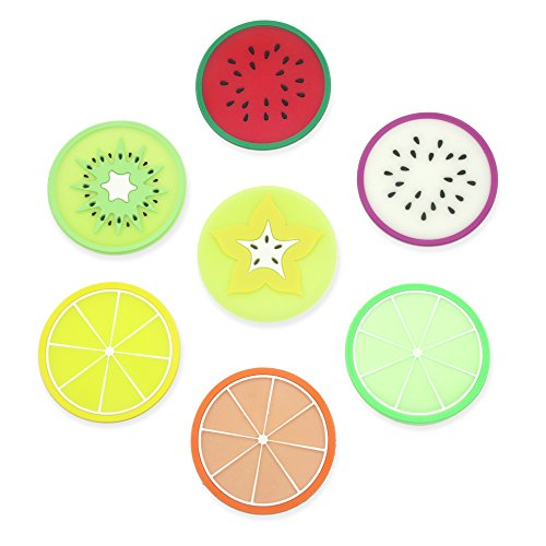 Lhx Silicone Multi-Use Cartoon fruits shapes Non Slip Hot Pads and Coasters Cup Mats Heat Resistant to,Non-slip,Durable, Pack of 7 (7 Colors)
