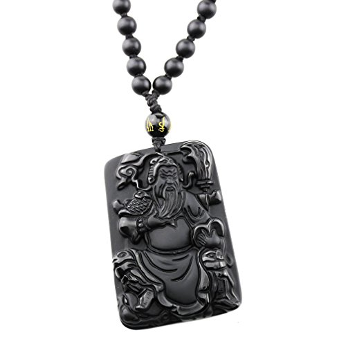 FOY-MALL Unisex Natural Obsidian Kwan Kung Pendant Necklace XL1314M]()