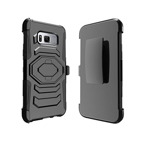 TurtleArmor | Compatible with Samsung Galaxy S8+ Case | S8 Plus Case | G955 [Octo Guard] Dual Layer Case Holster Belt Clip Sturdy Kickstand Cover - 2