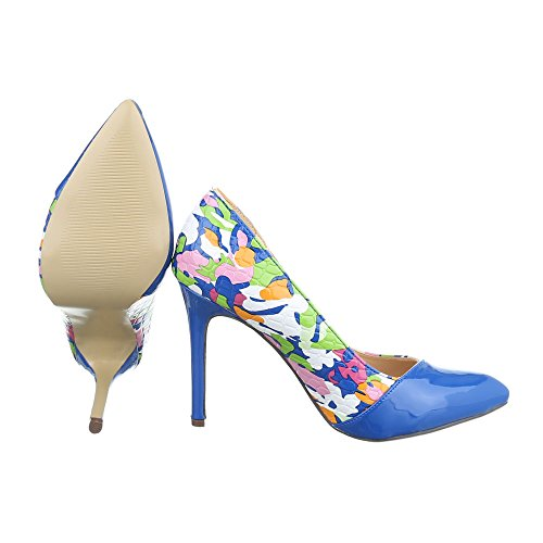 Ital-Design , chaussures compensées femme Blau Multi QJ305-22