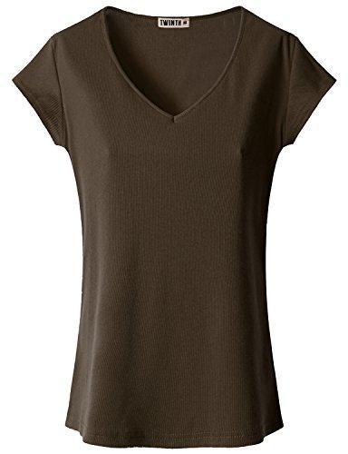 Doublju Womens Short Sleeve V neck Slim T-shirt Brown 2XL
