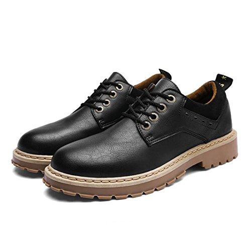 ZHONGST Stivali da Uomo Martin Primavera Scarpe Casual Retro Scarpe da Lavoro Britanniche Black
