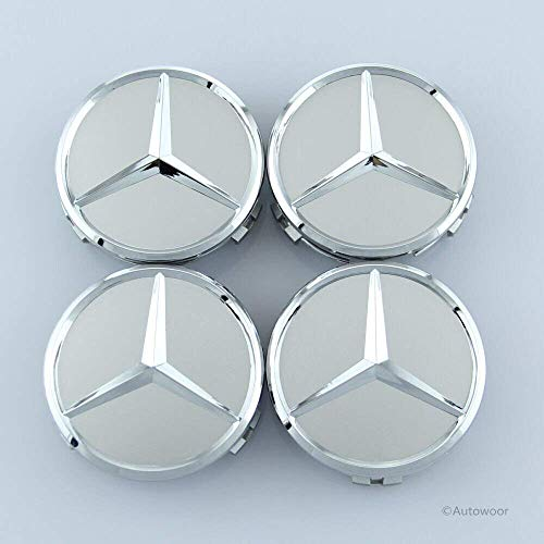 Autowoor Silver Wheel Center Hub Caps Mercedes Benz,75mm/3 Inch Fit for Mercedes Benz All Models with (4 pcs)