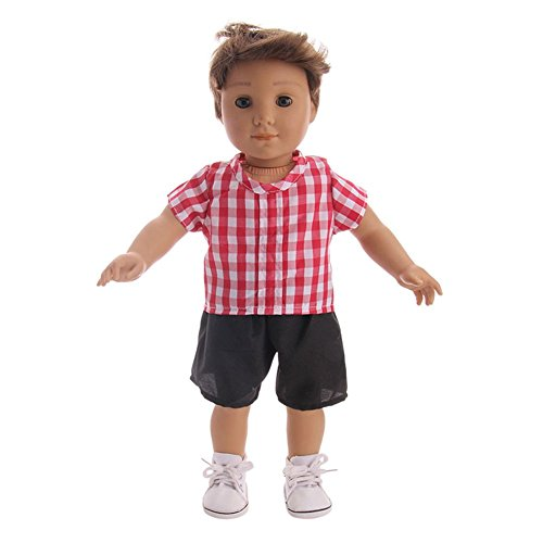 Ocamo 2PCS Simulate Male Doll Clothes Set Tops + Shorts for 18 Inch Doll (Alluring Short)