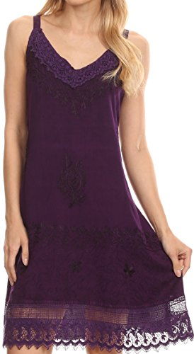Sakkas 1107 - Ameelynn Short Embroidered Batik Festival Sleeveless Spaghetti Strap Dress - Purple - 1X/2X ()