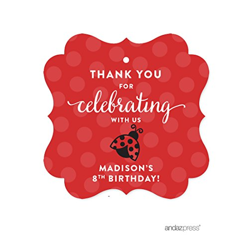 Birthday Personalized Favor - Andaz Press Personalized Birthday and Baby Shower Fancy Frame Gift Tags, Thank You for Celebrating With Us, Ladybug, 24-Pack, Custom Name, For Gifts and Party Favors
