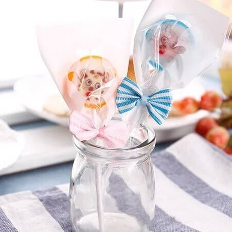 Funcoo 100 pcs Lovely Cute Bow Twist Tie for Bakery Candy Lollipop Cello Bag (Pink+ Sky -