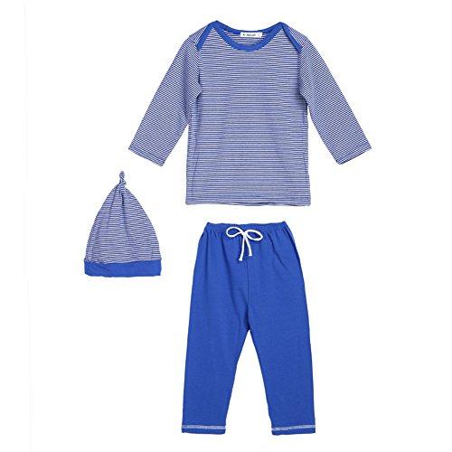 3pcs Kids Baby Boys Girl Long Sleeve Star T-shirt Tops Pants Hat Outfit Set(Blue) - 7