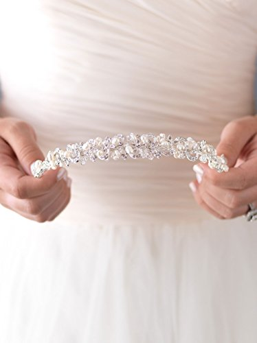 USABride Bridal Headband Tiara with Freshwater Pearl & Rhinestone Swirl Design 3083