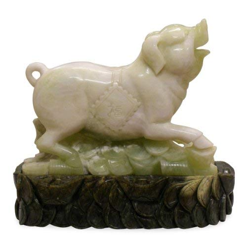 ChinaFurnitureOnline Jade Sculpture, Hand Carved Chinese Zodiac Pig Green