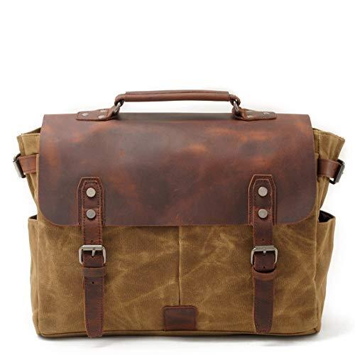 1fd18bf53fff Shoulder Bag, Men's Messenger Bag, 15.6-inch Retro Military Canvas Laptop  Bag Suitable for Work and School, Messenger Bag Computer Briefcase,Brown
