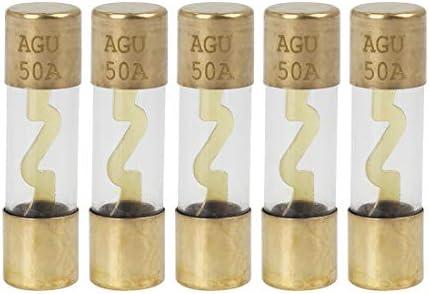 X Autohaux 5stk Plastik Rohrsicherung 50a Gold Ton Plattiert Agu Sicherung Für Auto Auto