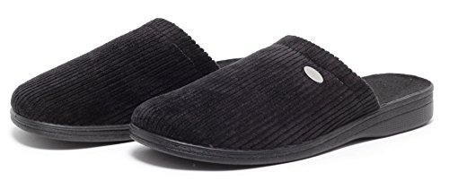 CLASSIC Herren Cord Pantolette Hausschuhe Hauspuschen Pantoffel Slipper Herrenschuhe Komfortschuhe Puschen Freizeitschuhe Schuhe SCHWARZ Gr.41-45