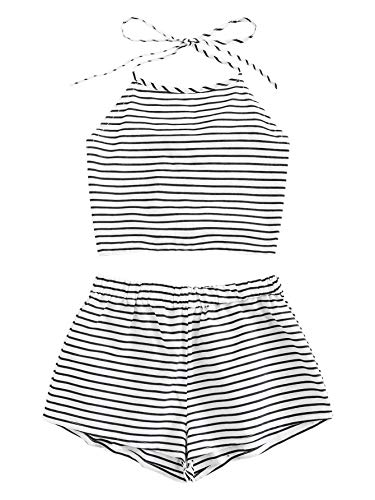 (SweatyRocks Women's 2 Piece Outfits Halter Sleeveless Crop Cami Top with Shorts 3-White L)