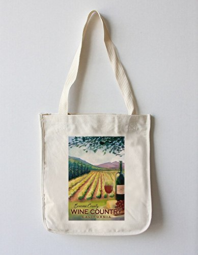 Lantern Press Sonoma County Wine Country, California (100% Cotton Tote Bag - Reusable)