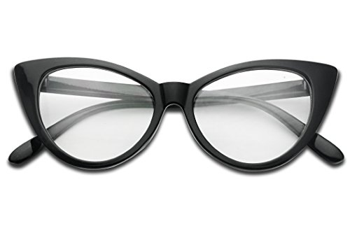 SunglassUP Vintage High Pointed Super Cat Eye 60's Inspired Fashion Clear Lens Non-Prescription Glasses - Style Prescription 70s Glasses
