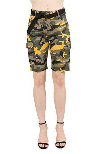 431266c4cd TwiinSisters Women's Casual Destroyed Mid Rise Twill Bermuda Shorts with  Comfort Stretch