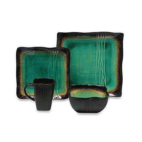 - Square 16-Piece Dinnerware Set in Jade by Baum Galaxy