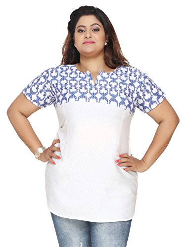 Plus Size Womens Indian Tunics Kurti Top Printed Apparel (White-Blue, 4XL)