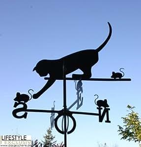 Veleta, diseño de gato y ratón grande en Negro–De Dragón